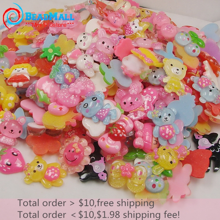 Wholesale! 20-35mm 50pcs Resin Kawaii Mix Design Fashion Resin Flatback Cabochon Scrapbooking Accessories Free Shipping DIY301