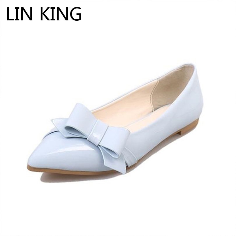 LIN KING New Pointed Toe Women Flats Shoes Fashion Slip On Lazy Shoes Sweet Bowtie Casual Shoes Comfortable Pregnant Woman Shoes lin king fashion pearl pointed toe women flats shoes new arrive flock casual ladies shoes comfortable shallow mouth single shoes
