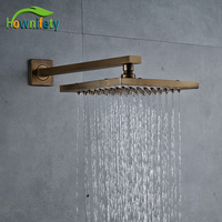 Wall Mounted 8 Inch Shower Head With Arm Bathroom Accessories Antique Brass Finish Brass Material