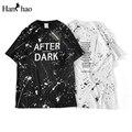 Carta de salpicaduras de tinta o-cuello ocasional de la camiseta los hombres 2017 verano impreso hip hop t shirt mens clothing negro de algodón blanco