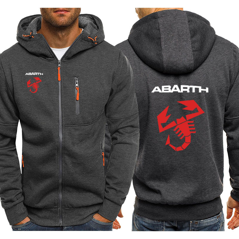 Hoodies Men Abarth Car Logo Print Casual Hip Hop Harajuku Long Sleeve Hooded Sweatshirts Mens Zipper Jacket Man Hoody Clothing