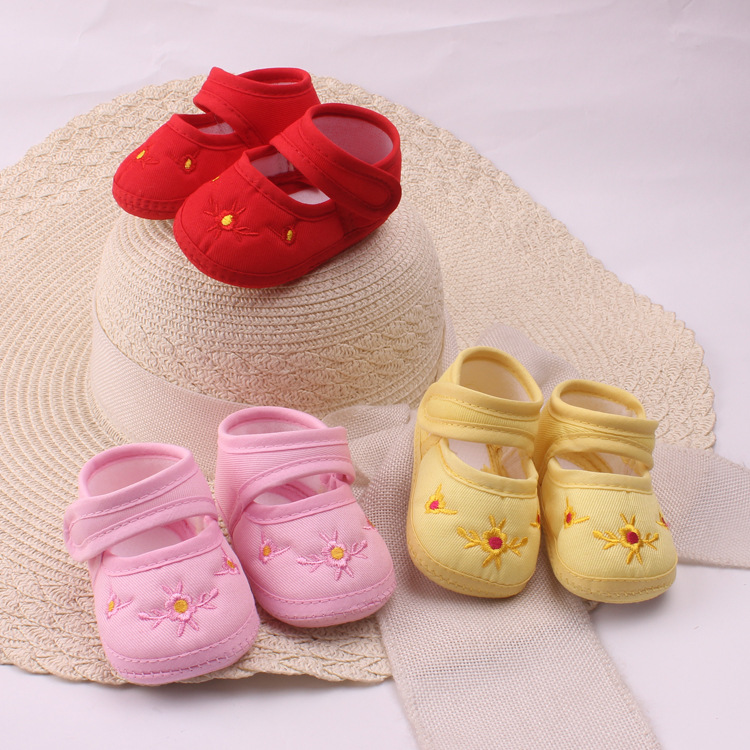 OKLADY Toddler Shoes Infant Spring Autumn Summer Shoes Baby Soft Cotton Casual Floral Hook Loop Red Yellow Pink Shoes Bebe 3M 6M