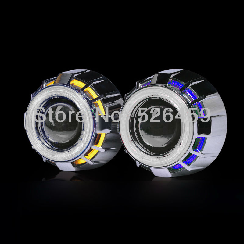 3inch bi xenon Double angel eyes LED Devil eyes  H1 Bulbs Projector Lens Kit with H1/H4/H7/9005/9006  car headlights source taochis 3 0 inch bi xenon hella projector lens hid d1s d3s d4s d2s shroud devil angel eyes head lamp upgrade demon eye