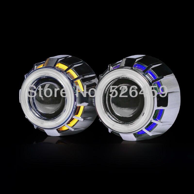 3inch bi xenon Double angel eyes <font><b>LED</b></font> Devil eyes H1 Bulbs Projector Lens Kit with H1/H4/<font><b>H7</b></font>/9005/9006 car headlights source