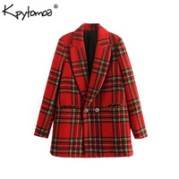 Vintage Double Breasted Plaid Blazers Coat Women 2018 Fashion Notched Collar Long Sleeve Outerwear Casual Workwear Jacket Tops