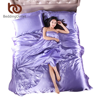 Hot Selling Plaid On Bed Set Bed Linen Silk Satin Sheets Light Purple Satin Duvet Cover