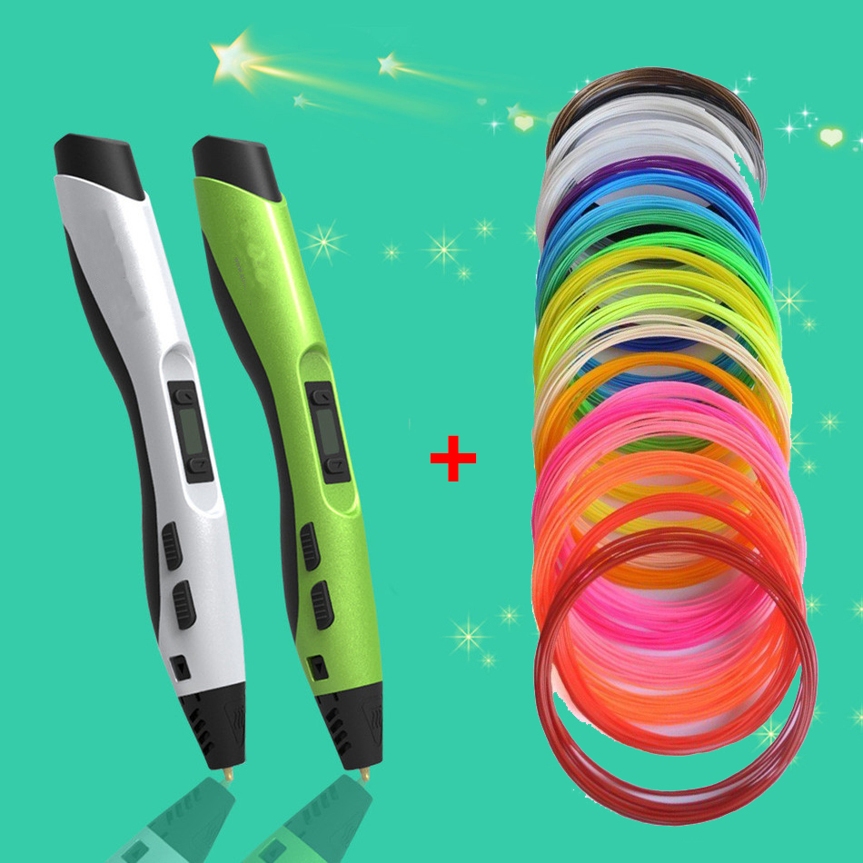 ФОТО DIY1.75mm ABS/PLA 3D Print Pen Maker Filament +Power Adapter 3 Generations Smart 3D Printing Dauber Pen Gift For Kids Drawing