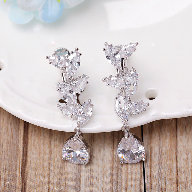 Clical Marquise Pear Shape Clear Cubic Zirconia Zircon Drop Earrings Ear Clip Brides Cz Dangle