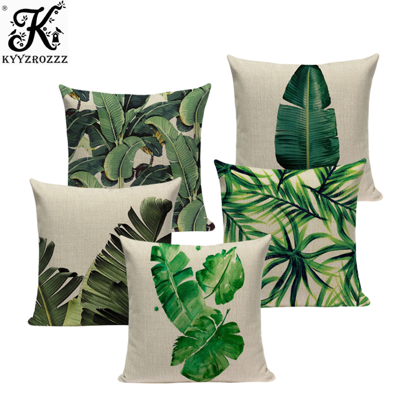 Pillow Cover Cushion Cotton Tropical Banana Leaves Palm Leaf Cases Linen Gift