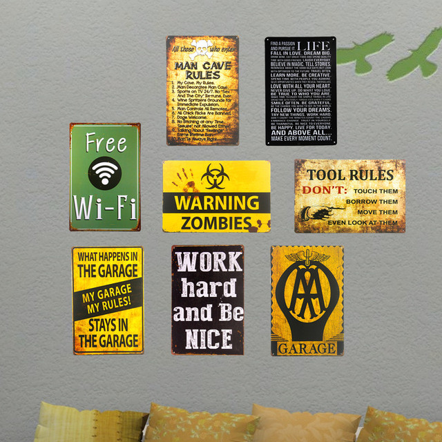 DL Tin signs My Garage WIFI Warning Man cave Medal Decor Wall Art ...
