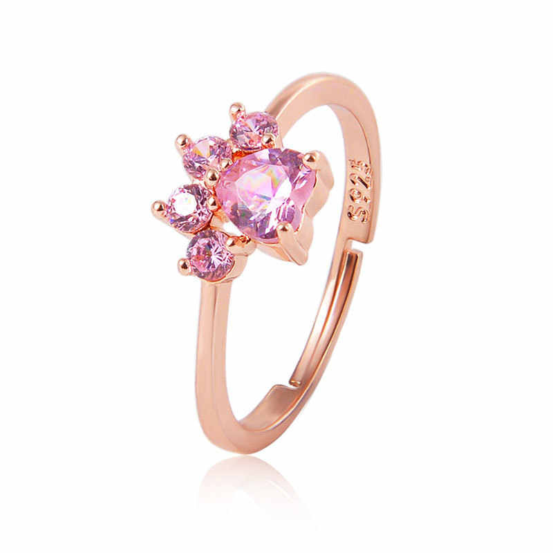 Cute Bear Paw Cat Claw Opening Adjustable Ring Rose Gold silver Rings for Women Romantic Wedding Pink Crystal Love Jewelry Gifts