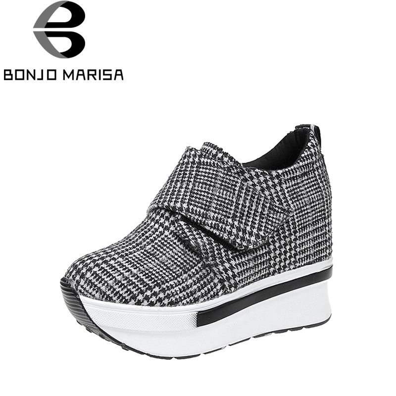 BONJOMARISA new arrivals big size 35-40 Fashion height increasing Women Shoes Woman hook&loop Lattices spring Lady footwear