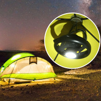 2 In 1 LED Camping Light With Ceiling Fan Portable Lantern Outdoor Hanging Lamp For Home Emergency Hiking Hunting Beach Tent
