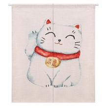 XIAOKENAI 85X120cm 85X90cm Linen Cotton Cartoon Lucky Cat Doorway Curtain Tube Left And Right Biparting Open Decor