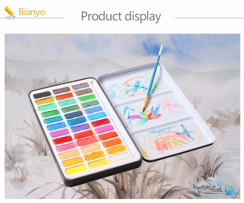 Bianyo 30 Colors Artist Watercolor Solid Paints Set For Portable Outdoor Sketch Soluble Brush Child
