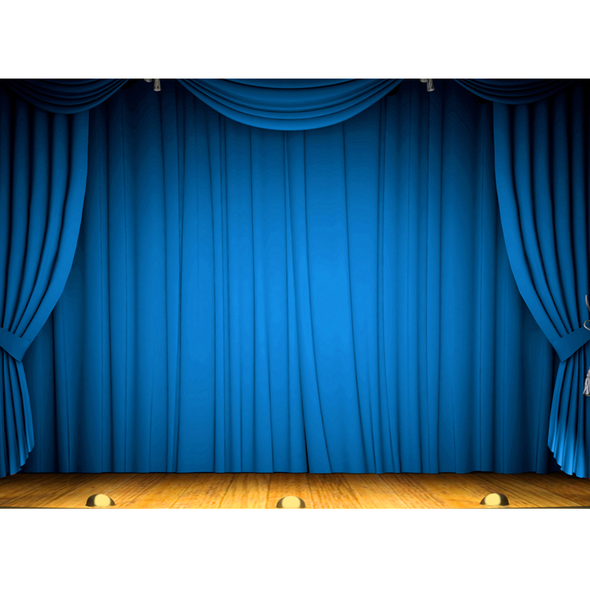 Blue Curtain Photography Backdrops Photo Studio Wood Floor