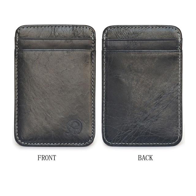 Fashion 100% Genuine Leather Thin Bank Credit Card Case Mini Card Wallet Men Bus Card Holder Cash Change Pack Business ID Pocket 3