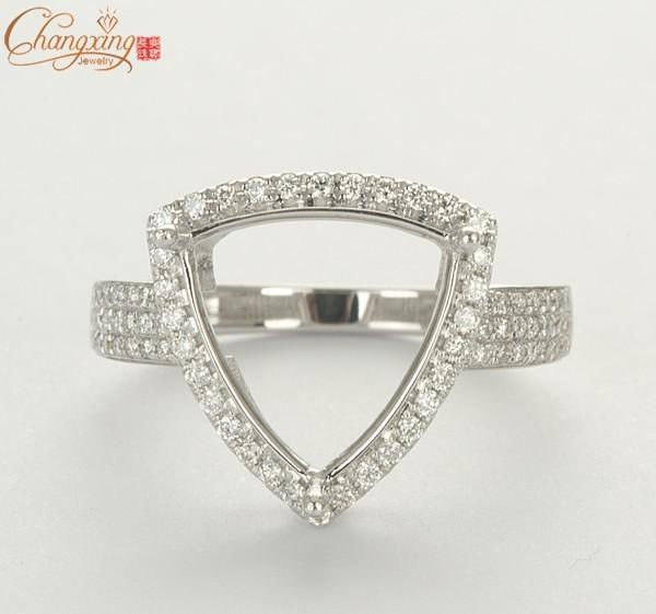 12x12mm Billones de Natrual sólido 14 k Oro Blanco diamante semi monte el anillo de compromiso