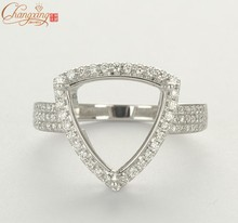 12x12mm Trillion solid 14k White Gold Natrual diamond engagement semi mount ring