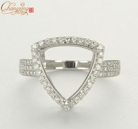 12x12mm Trillion Solid 14k White Gold NATURAL Diamond Engagement Semi Mount Ring