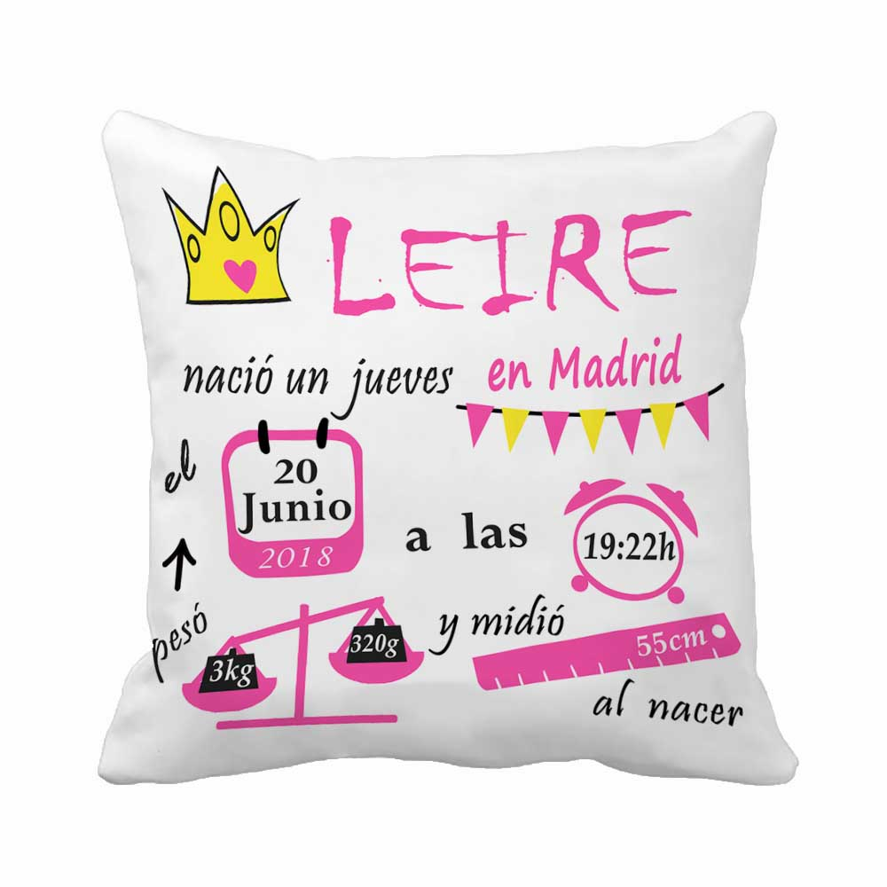 Taie D Oreiller A Personnaliser €5.61  personnalisé avec anniversaire bébé fille coussin naissance données  couronne motif oreiller décoratif housse de coussin taie d'oreiller