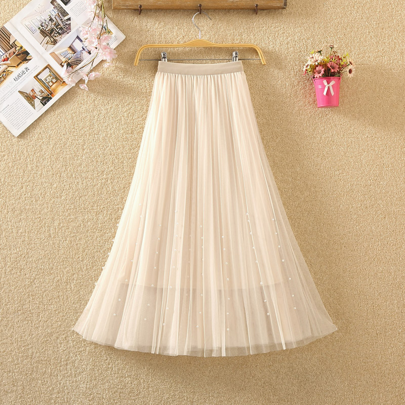 New 2019 Spring Summer Skirts Womens Beading Mesh Tulle Skirt Women Elastic High Waist A Line Mid Calf Midi Long Pleated Skirt 7