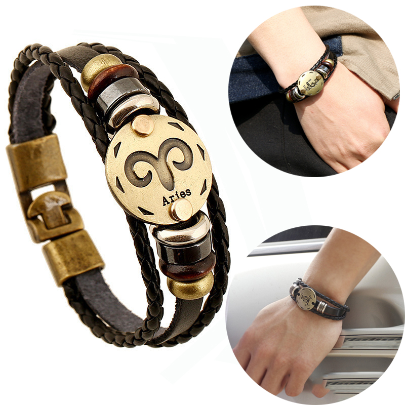 12 Constellations Bracelet 2018 New Fashion Jewelry Leather Bracelet Men Casual Personality Zodiac Signs Vintage Punk Bracelet