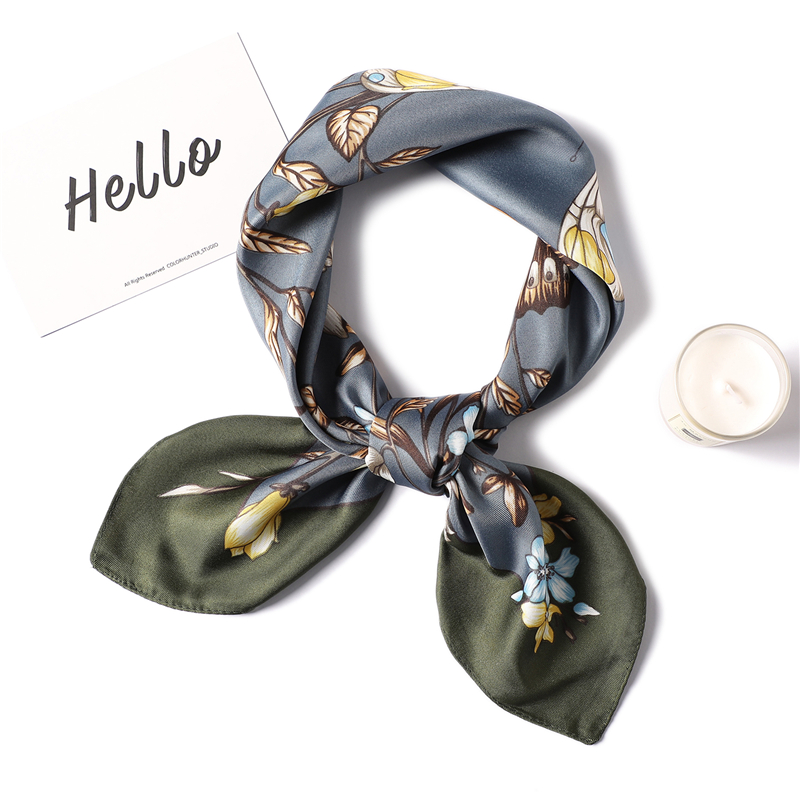 2020 Fashion Silk Scarf Women Square Floral Print Neck Scarves Lady Headband Foulard Hand Kerchief Female Bag Scarfs