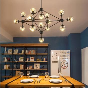 Nordic simple black paint iron magic bean design chandelier industrial wind amber glass ball LED E27 lighting living room decor