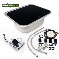 BIKINGBOY Silver Universal Tempered Glass Stainless Steel Hand Wash Basin Kitchen Sink For RV Caravan Camper Boat