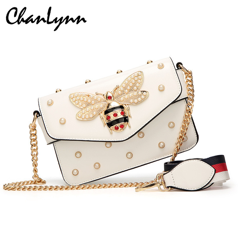 2018 NEW Women Crossbody Bags Pearl Bee Bags Luxury Woman Handbags Diamond PU Leather Female Shoulder Bag Strap Messenger Bags