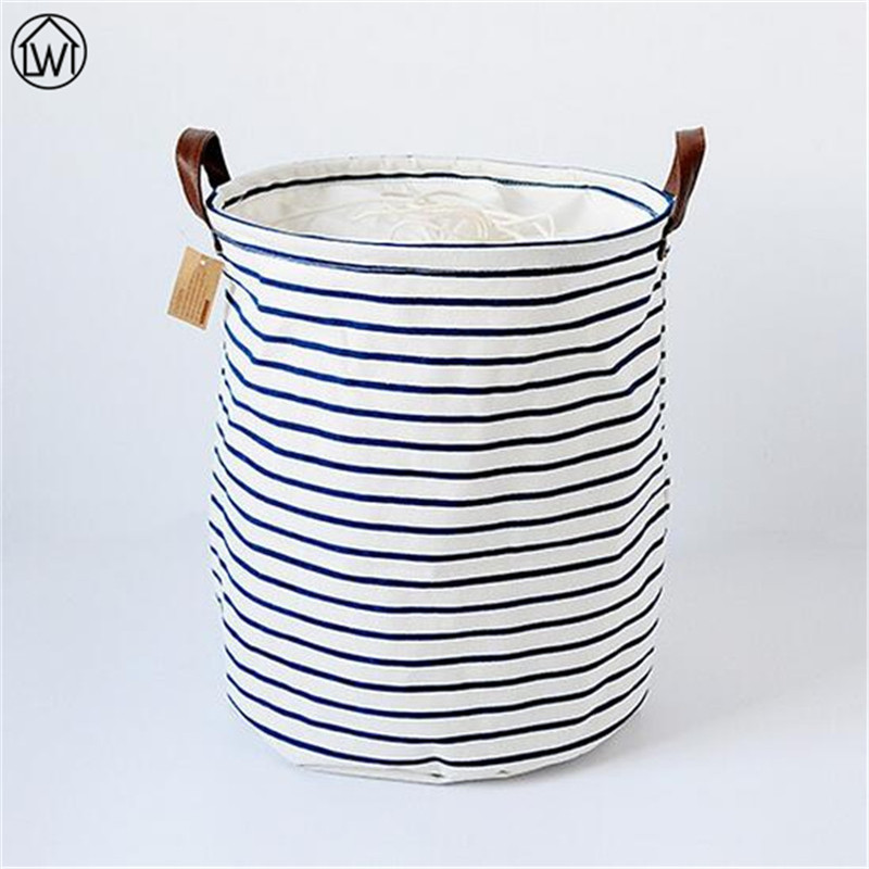 Large Size Blue Stripe Storage Bag ZAKKA Laundry Basket Linen Folding Sundries Basket,Ba ...