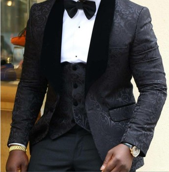 New Design One Button Black Embossing Groom Tuxedos Shawl Lapel Groomsmen Mens Wedding Prom Suits (Jacket+Pants+Vest+Tie) NO:4