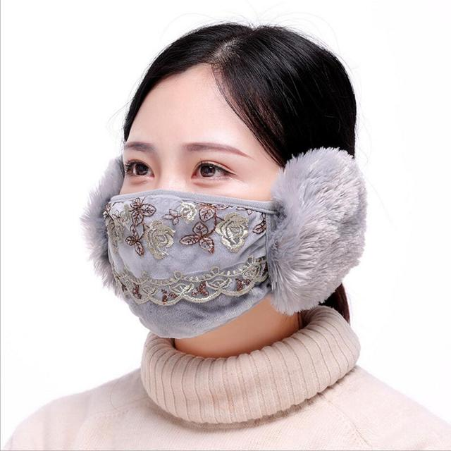 Women Ear protective face mask adults Windproof Mouth-muffle anti-dust mouth mask Anti Haze Flu Face masks winter respirator 1