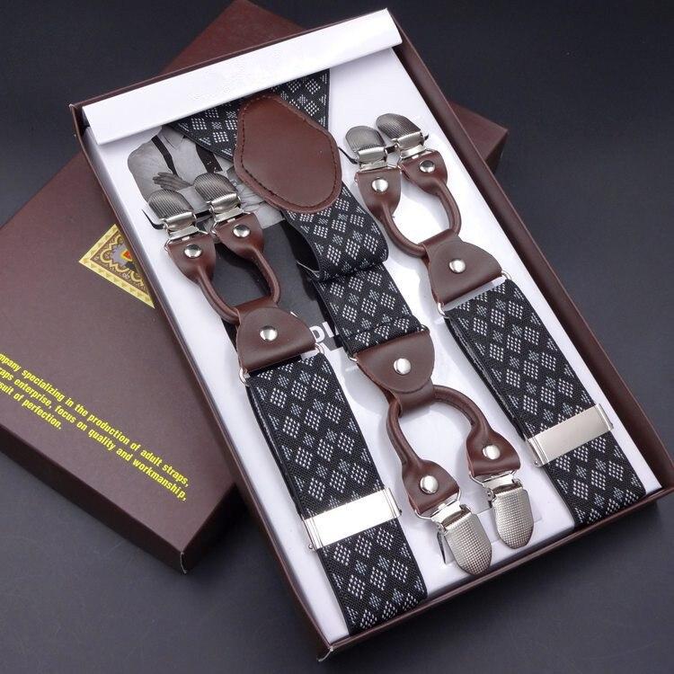 Mens suspenders fashion leather braces Mens trouser 6 clips adult suspensorio tirantes hombre bretelles