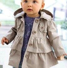 Hot sales little baby girl  boys Kids girls doll collar cute  trench coat 80-120