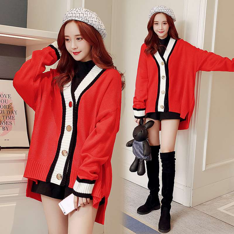 Maternity wear 2018 autumn and winter new Korean version of the thickening maternity sweater fashion loose large size sweater co plus size geometric loose sweater kimono cardigan