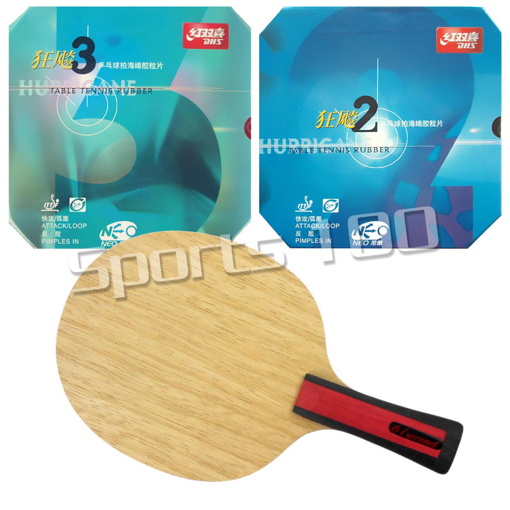 Pro Combo Racket 61second 3004 Shakehand with DHS NEO Hurricane 2 and NEO Hurricane 3 with a free small case neo pro