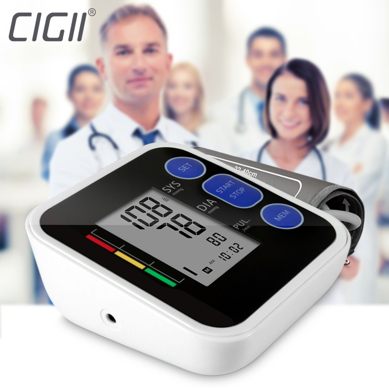 Cigii Upper Arm blood pressure Pulse monitor LCD Portable Home Health Care 1pcs Digital Tonometer Meter Pulse oximeter glucose meter with high quality accessories urine disease glucose meter test article 50 pc free blood 50 pcs of health care