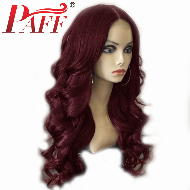PAFF Human Hair Wigs Full Lace 180 Density Wine Red Body Wave Hair Wig Middle Part
