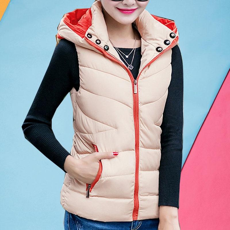 Hooded vest coat woman winter 2017 new arrived jackets female zip cotton padded down jacket pockets parkas sleeveless hot sale asymmetric zip up hooded vest