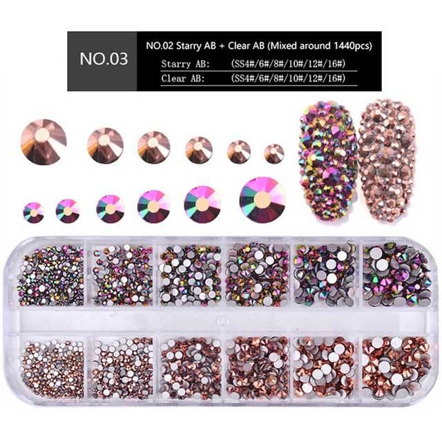 1 Box Multi Size Glass Nail Rhinestones Mixed Colors Flat-back AB Crystal Strass 3D Charm Gems DIY Manicure Nail Art Decorations 2