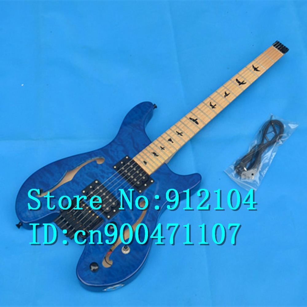 free shipping new Big John hollow F hole headless electric guitar with maple fingerboard in blue F-3060 big john модель 65d