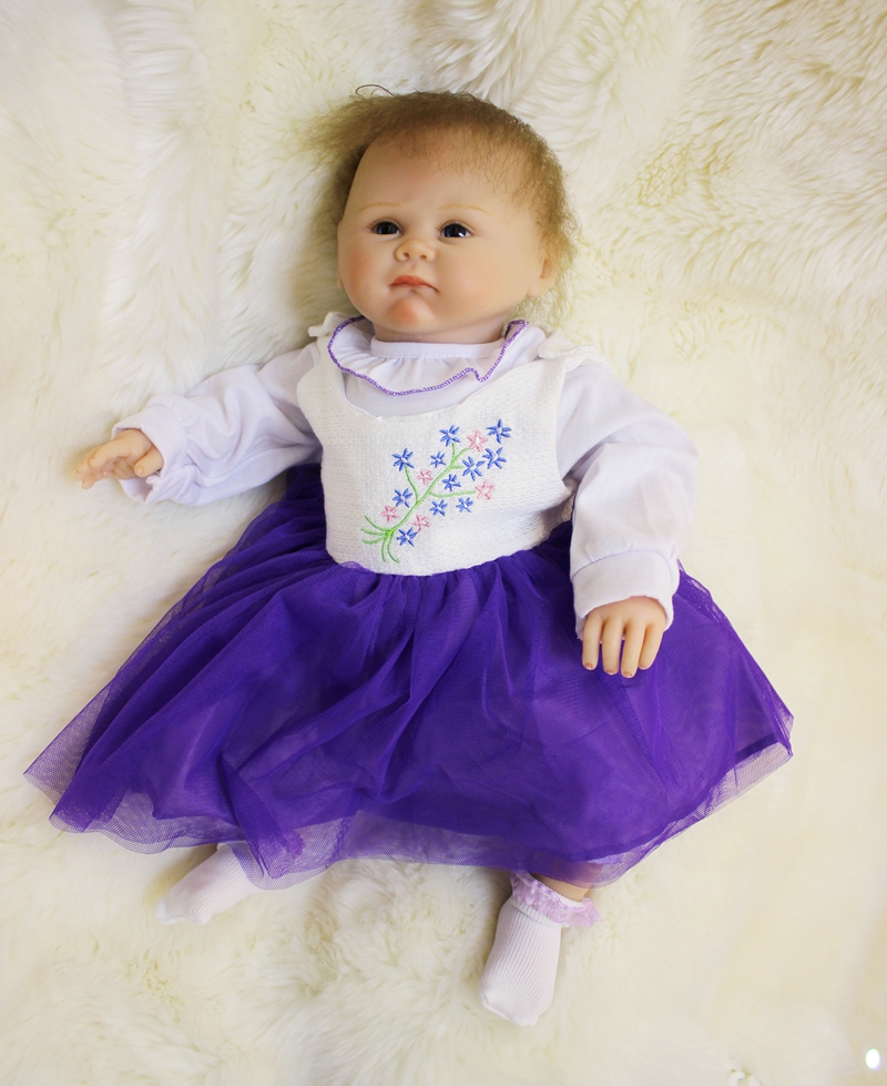 50cm Soft Body Silicone Reborn Baby Doll Toy Lifelike Real Cute Vinyl Newborn Girl Babies Dolls Birthday Gift Present Play House silicone reborn baby dolls toy lifelike exquisite soft body newborn boys babies doll best birthday gift present collectable doll