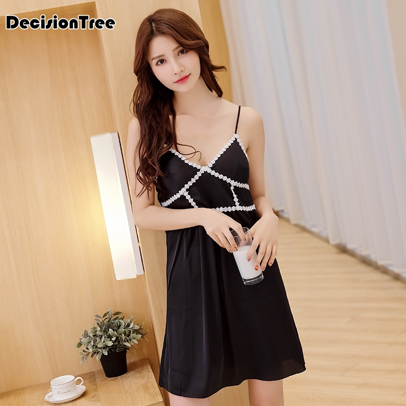 2019 new women nightgowns sexy satin sleepwear silk nightwear spaghetti strap lace nightgowns sleepshirts sleep & lounge with
