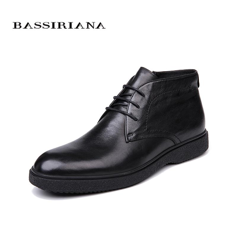 BASSIRIANA marca de calidad 2018 cuero genuino zapatos de invierno de los hombres zapatos de los hombres del dedo del pie redondo tamaño 39-45 envío Gratis