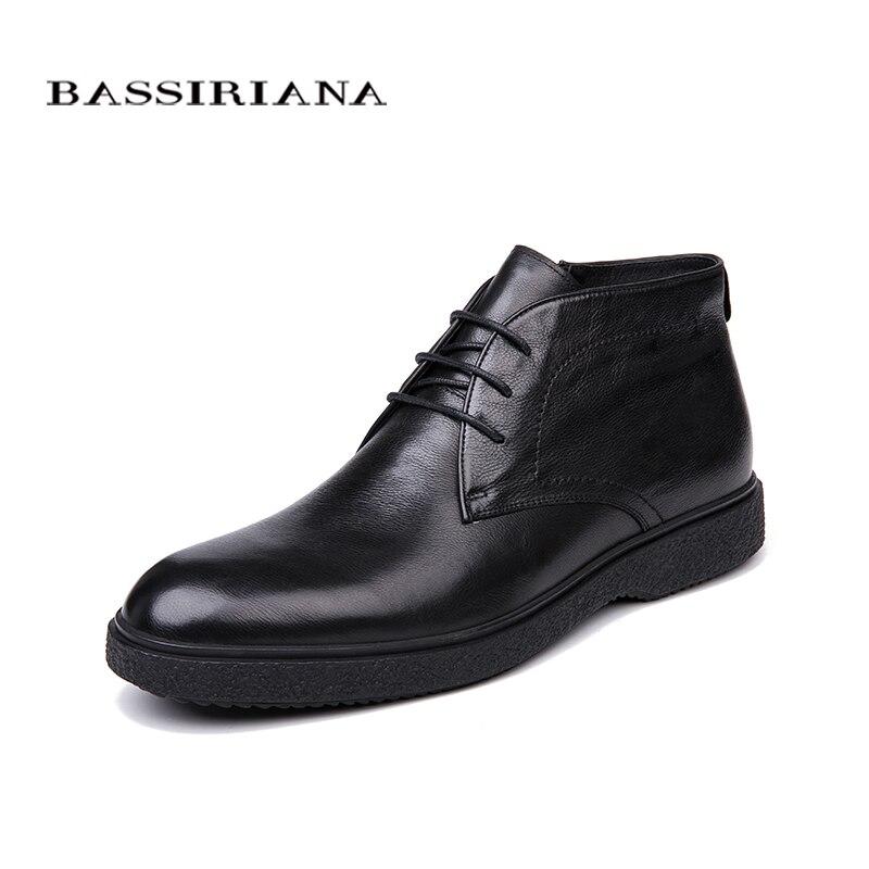 BASSIRIANA marque 2018 qualité véritable d'hiver en cuir chaussures hommes de chaussures chaudes hommes de bout rond Taille 39-45 livraison Gratuite