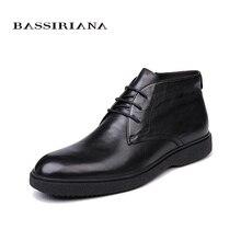 BASSIRIANA מותג 2018 איכות עור אמיתי חורף נעלי גברים של נעליים חמות גברים של הבוהן עגולה גודל 39 45 משלוח חינם