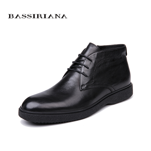 BASSIRIANA brand 2018 quality genuine leather winter shoes mens warm shoes mens round toe Size 39 45 Free Shipping