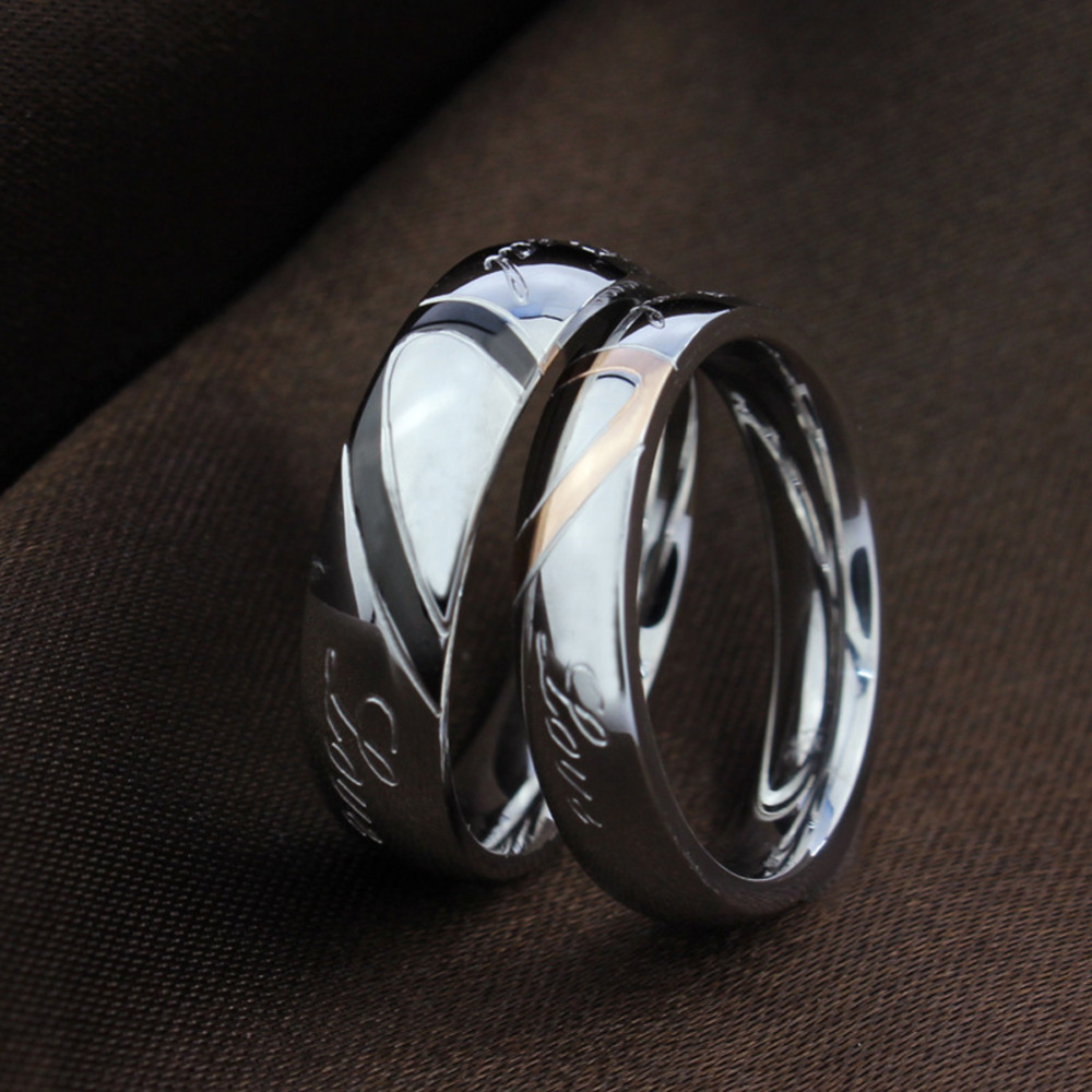 New Design Valentines Titanium Steel Heart Shaped Puzzle Rings Hold